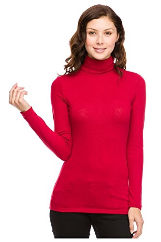 G2 Chic Women's High Turtle Neck Knit Casual Sweater Top(TOP-SWT,REDA1-S)