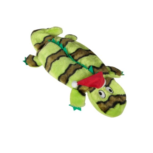Kyjen Plush Puppies Invincibles Holiday Green Gecko with Hat, 4-Squeaks, My Pet Supplies