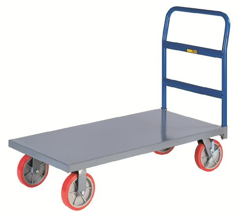 Little Giant NBB-2448-8PYBK 12-Gauge Steel Heavy-Duty Platform Truck with 8'' Polyurethane Non-Marking Tread Casters, 3600 lbs Capacity, 48'' Length x 24'' Width by Little Giant (Image #1)