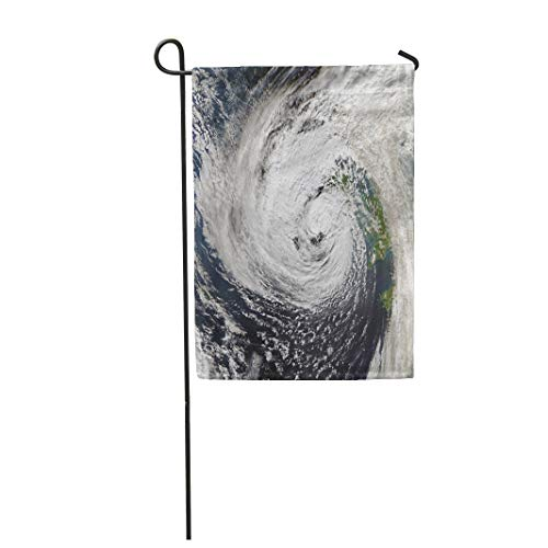 Tarolo Decoration Flag Storm Hurricane Ophelia Hits Ireland of This Furnished by NASA Climate Satellite Thick Fabric Double Sided Home Garden Flag 12