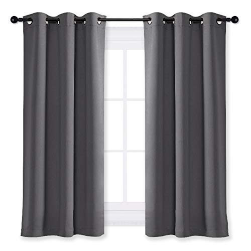 NICETOWN Blackout Curtain Blind for Bedroom Thermal Insulated Grommet Blackout Room Darkening Drape/Drapery (Single Panel, W42 x L63 -Inch, Grey/Gray)