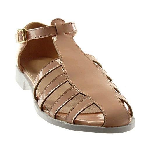 Angkorly Damen Schuhe Sandalen - Knöchelriemen - Römersandalen - Patent - Schleife - Golden Blockabsatz 2 cm Hellrosa