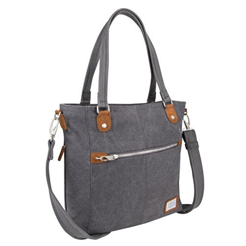 Heritage Shoulder Tote (Travelon Anti-theft Heritage Tote Bag , Pewter, One Size)