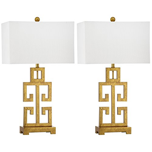 Collection White Gold Two Light - Safavieh Lighting Collection Greek Key Antique Gold 28.75-inch Table Lamp (Set of 2)