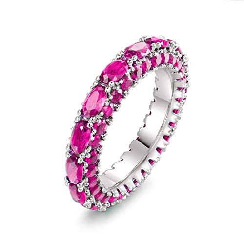 Barzel Rhodium Plated Oval Cut Created Emerald & Created Sapphire Three Row Eternity Ring Band (Ruby, 8)