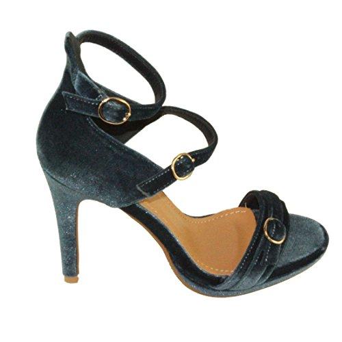 Betani Womens Penelope-14 In Velluto Regolabile Cinturino Alla Caviglia Stile Mary-jane Vestito Pompe Blu