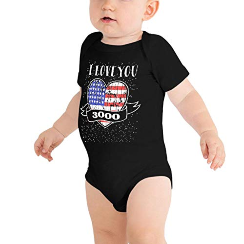 I Love You 3000 Baby Boys Girls Funny Letter Print Romper Jumpsuit Clothes for Infant Newborn Patriotic Outfits Black