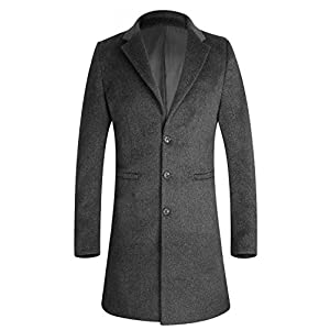 APTRO Men's Wool Coat Long Fashion Slim Fit Overcoat Jacket 1701 DZDY Grey M