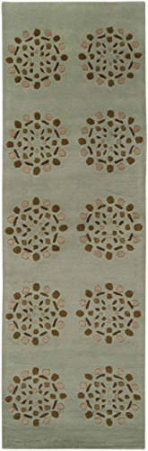 Surya Bombay 9' x 13' Hand Tufted Wool Rug in Green and Brown (Rug Surya Bombay)