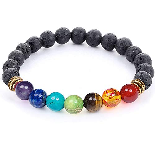 7 Chakra Healing Bracelet with Real Stones, Volcanic Lava, Mala Meditation Bracelet - Men's and Women's Religious Jewelry - Wrap, Stretch, Charm Bracelets - Protection, Energy, Healing 7.25 in ()