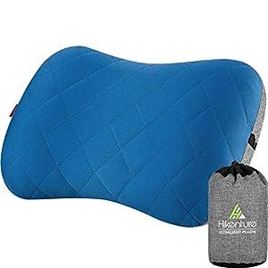 41vcv0RAS7L. SS300 Hikenture Aufblasbares Camping/Reise Kissen mit Abziehbarem Kissenbezug, Ergonomisches Kopfkissen, Komfortables…