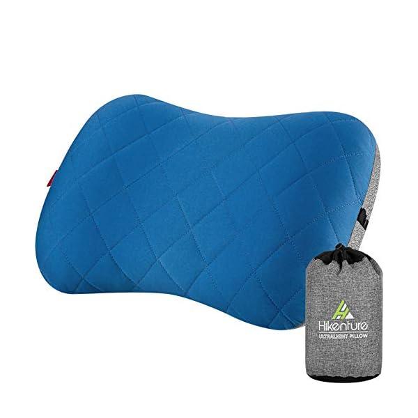 41vcv0RAS7L Hikenture Aufblasbares Camping/Reise Kissen mit Abziehbarem Kissenbezug, Ergonomisches Kopfkissen, Komfortables…