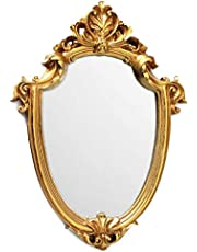 BetyHom Vintage Gold Resin Frame Decorative Wall Mirror Small 12.5x9 in