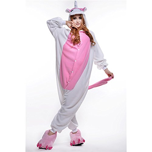 Amurleopard Coverall Pajamas Hoodie Animal Costumes Cosplay Pink Unicorn S