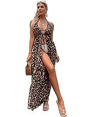 SOLY HUX Women's Halter Self Tie Leopard Print Sheer Mesh Swimsuit Kimono Beach Cover Up
