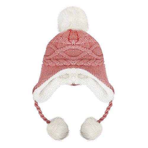 Kids Girl Boys Winter Warm Knitted Hat Earflap Plush Lining Crochet Beanie Hats (Wool Beanie Earflap)