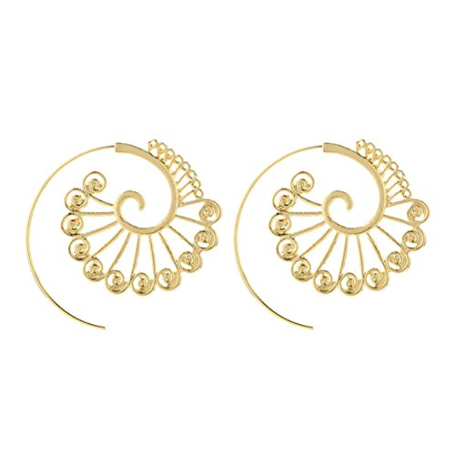 Botrong Trendy Personality Spiral Gear Shape Stud Earrings Fashion Dangle Earrings (Gold)