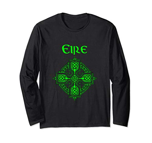 - Eire Celtic Cross - Gaelic Symbol in Green Long Sleeve Shirt
