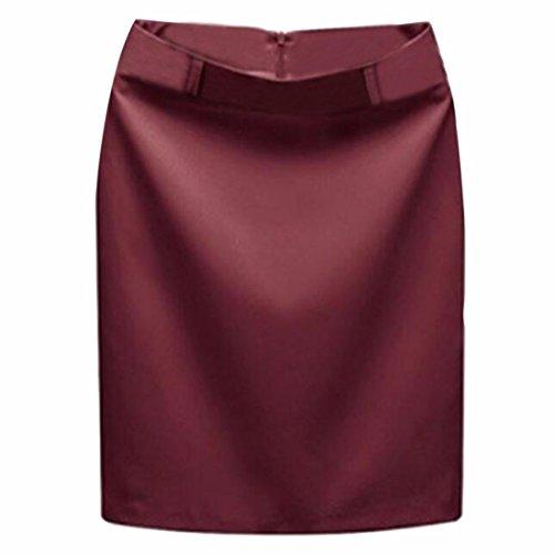 Oficina de las mujeres de la falda de poliester de color solido paquete caderas falda delgada del lapiz Red Wine
