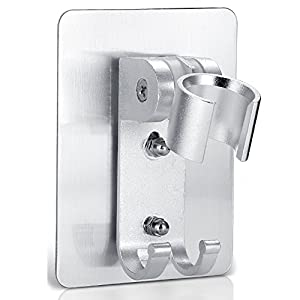 HaloVa Shower Head Holder, No Punching Adhesive Adjustable Handheld Showerhead Bracket with 2 Hooks, Universal Bathroom Wall Mount Bracket Holder