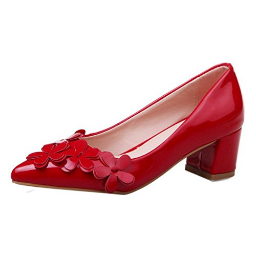 TAOFFEN Women Casual Block Mid Heel Slip On Flowers Pointed Toe Court Shoes Red UOjYHFAee