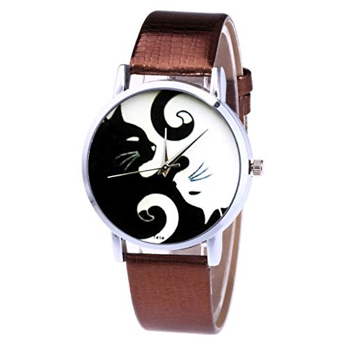 Toponly Couple Quartz Watches Women Men's Leather Strap Band Cat Printed Stainless Steel Dial