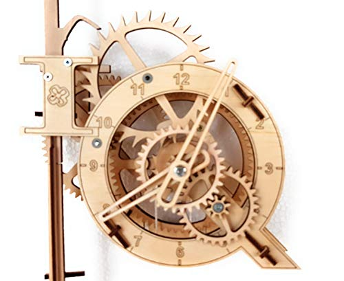 Real Wooden Pendulum Clock. 3D Puzzle. Assembly kit. 4UIQ. (With Visible Gears Clock)
