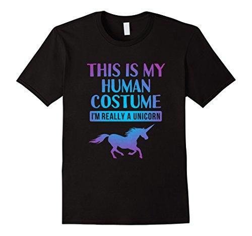 [Mens Unicorn Halloween Shirt Cute Costume Idea for Women Men Girl Medium Black] (Unicorn Costumes Ideas)