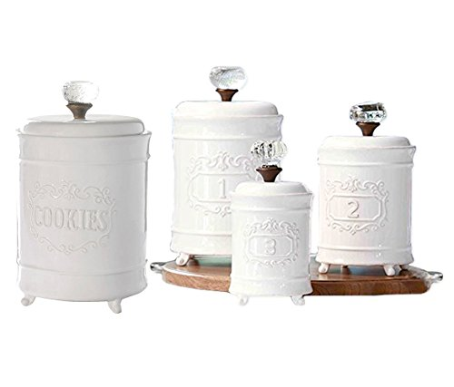 Mozlly Value Pack - Mud Pie White Ceramic Footed Glass Door Knob Canisters AND White Ceramic Circa Cookie Jar (2 Items)