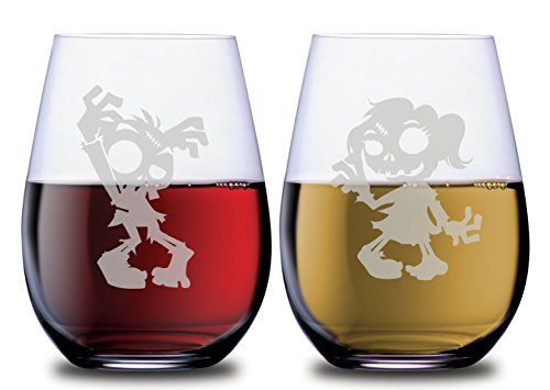 Funny Zombie Stemless Couples Wine Glasses Set of 2 Dishwasher Safe, 18 oz, by Smoochies | Couples, Anniversary, Home Date Night, Wife and Husband, Her and His, Dead Walking Fandom Gift Ideas -