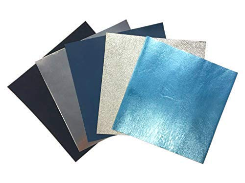 Blue Leather Fabric for Crafts: 5 Sheepskin Sheets of Blue with Silver Leather Hides 5x5In/12x12cm
