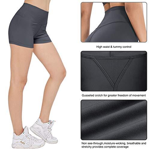 ATHVOTAR Women\'s Workout Spandex Booty Shorts - High Waist Buttery Soft Shorts Biker Yoga Running Comfortable Shorts Gray M