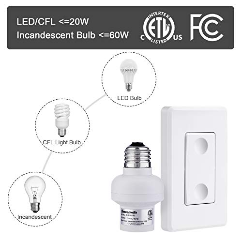 DEWENWILS Remote Control Light Lamp Socket E26 E27 Bulb Base Adapter, No Wiring, Wall Mounted Wireless Controlled Ceiling Light Switch Fixture, Expandable, ETL Listed, White by DEWENWILS (Image #2)