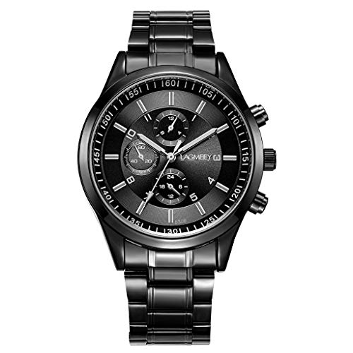 (LUCAMORE Watches Mens Stainless Steel Quartz Analog Wrist Watch Men Luxury Luminous Waterproof Business Sports Watch)