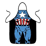 FASHION ALICE Captain America Apron Heroic Figure Role Play Apron,Couples Apron Kitchen Aprons Funny Personality Sexy Originality Cooking Aprons Christmas Gift,Including key ring bottle opener