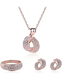 Fashion Crystal Pendant Necklace Earring Set Rose Gold...