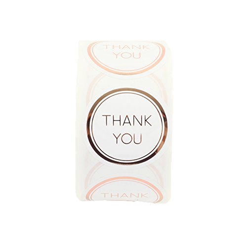 Andaz Press Label Stickers Rose Gold Foil Edge Thank You Favor Labels, 1.5-inch Stickers Round Circle, 500-Pack Party Favor Labels for Wedding Favors, Quinceanera, Kids Birthday, Baby Shower, Baptism