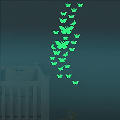 FLY SPRAY Creative Luminous Wall Decorative 24pcs Butterfly Stickers Glow in the Dark Light Decor Removable Decals Mural Wall Art Kids (Country Lyrics Sticker)