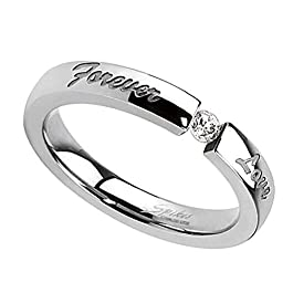 Fantasy Forge Jewelry Womens Forever Love Tension Set Cubic Zirconia Solitaire Anniversary Ring Wedding Band Sizes 5-10