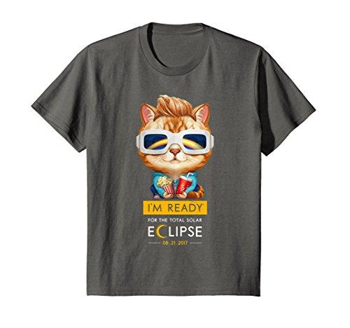Price comparison product image Kids Ginger Tabby Cat in Solar Eclipse Glasses T-Shirt 4 Asphalt