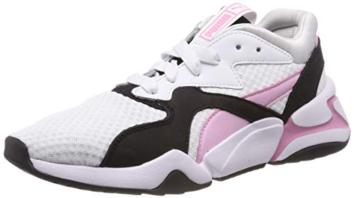 Puma Women's Nova 90's Bloc WN's Low-Top Sneakers, White-Pale Pink, 7.5 UK -