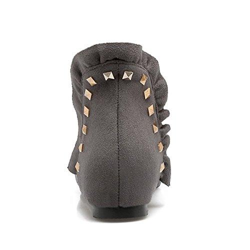 YE Damen Flache Chelsea Boots Ankle Boots Stiefeletten mit Nieten Bequem  Modern Schuhe Grau ... 8b070d6eea