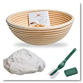 10 Inch Banneton Proofing Basket,WERTIOO Bread Proofing Basket + Lame + Linen Liner Cloth for Professional & Home Bakers (10 Inch)