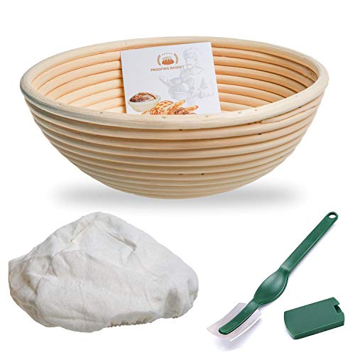 WERTIOO Banneton Bread Proofing Basket + Dough Scorer + Linen Liner Cloth for Professional & Home Bakers Sourdough Recipe (10 Inch)