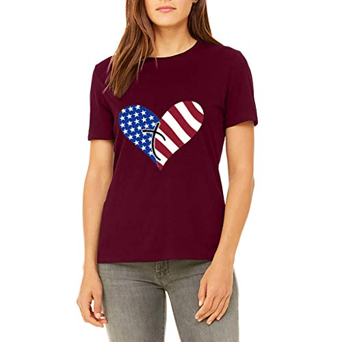 TWinmar -Women Fashionable Slim American Flag T-Shirt O-Neck Short Sleeve Girls Love Heart Printed Blouse Comfortable Festival Tops (Red,S)