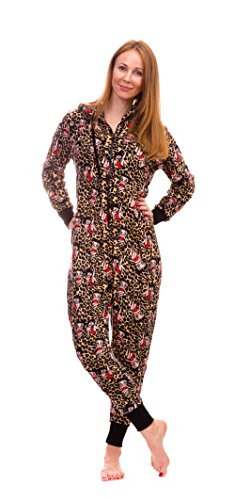 - Betty Boop Women's Warm and Cozy Plush Onesie Pajama (Small, Leopard)