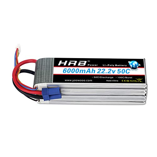 - HRB 6S 6000mAh 22.2V Lipo Battery 50C-100C EC5 Plug for RC Quadcopter Airplane Helicopter Car Truck(6.10 x 1.89 x 2.17 inch)