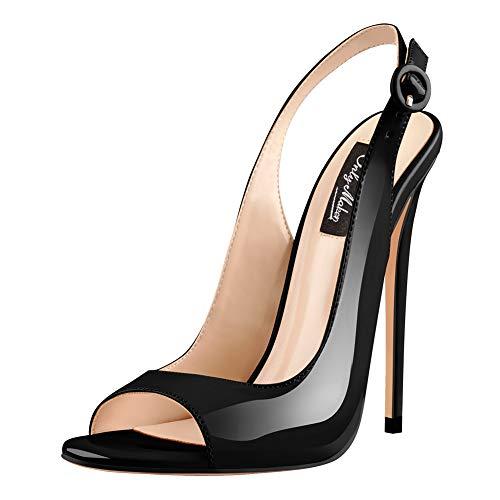Onlymaker Women Peep Toe Heeled Sandals Slingback High Heel Stiletto Pumps for Party Dress Black 6 M US