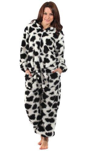 3e81230686e7 Superb Ladies  Cow Print  Soft n  Fluffy ONESIE Onesies All In One Pyjamas  Sleepsuits - White 18-20  Amazon.co.uk  Clothing