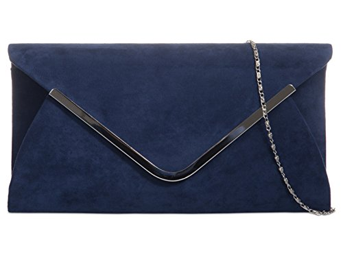 WEDDING BRIDAL BAG Navy PARTY CLUTCH PLAIN PURSE HAND blue SUEDE fi9® EVENING nzqxHtavv